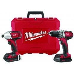 Milwaukee Electric Tool - 2691-22 - Milwaukee M18 18 V Lithium-Ion Redlithium XC 2-Tool Compact Cordless Combination Kit (Includes M18 And M12 Multi-Voltage Charger, (2) M18 Redlithium Compact Battery, M18 Compact 1/2' Drill Driver, M18 1/4' Hex