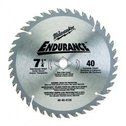 Milwaukee Electric Tool - 48-40-4126 - Milwaukee 7 1/4' X 5/8' X .047' 7000 RPM 40 TPI ATB Grind Endurance Carbide Tipped Circular Saw Blade (For Wood Cutting), ( Each )