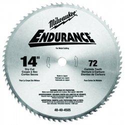Milwaukee Electric Tool - 48-40-4505 - Milwaukee 14' X 1' 1800 RPM 72 TPI Rip/Cross Cut Grind Carbide Tipped Fast Cut Circular Saw Blade (For Metal Cutting), ( Each )