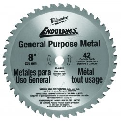 "Milwaukee Electric Tool - 48-40-4515 - Milwaukee 8"" X 5/8 42 TPI Endurance Carbide Tipped Circular Saw Blade (For Metal Cutting)"