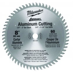 "Milwaukee Electric Tool - 48-40-4540 - Milwaukee 8"" X 5/8"" 5000 RPM 60 TPI ATB Grind Carbide Tipped Fast Cut Circular Saw Blade (For Greater Than 1/4"" Aluminum Cutting)"