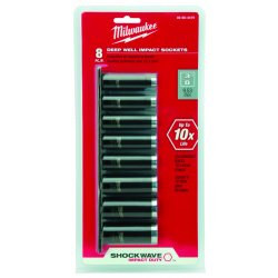 Milwaukee Electric Tool - 49-66-4419 - 3/8 SAE Full Polish Black Chrome-Molybdenum Impact Socket Set, Number of Pieces: 8
