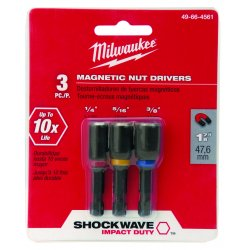 Milwaukee Electric Tool - 49-66-4561 - 1-7/8 Nutsetter Set 1/4, 5/16, 3/8 Hex Size, 1/4 Hex Shank Size, Magnetic