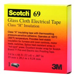 "3M - 500-09910 - Scotch 69 Glass Cloth Electrical Tape, 3/4"" x 66ft"