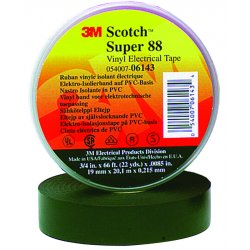 3M - 88-SUPER-2X36YD - Black Flame Retardant Vinyl Electrical Tape, 2 Width, 108 ft. Length, 8.5 mil Thickness