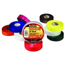 3M - 35-RED-3/4X66FT - 3M 35-Red-3/4x66FT Color Coding Electrical Tape, Vinyl, Red, 3/4 x 66'