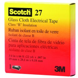 "3M - 500-15074 - Scotch 27 Glass Cloth Electrical Tape, 3/4"" x 66ft"