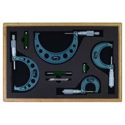"Mitutoyo - 103-930 - Micrometer Set, Micrometers Included: 1"", 2"", 3"", 4"", 0 to 4"" Range, 0.001"" Resolution"