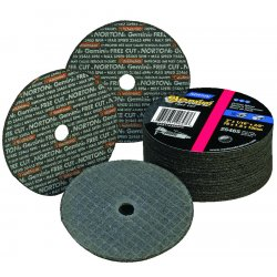 "Norton - 66243510659 - Norton 4"" X 1/8"" X 3/8"" 36 Grit Very Coarse Aluminum Oxide GEMINI FREECUT Reinforced Type 1 Straight Cut Off Wheel For Use With Horizontal or Straight Shaft Grinder On Steel And Stainless Steel"