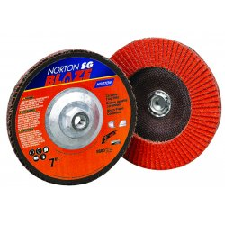 Norton - 66261183493 - Norton 4 1/2' X 5/8' - 11 80Y Grit Blaze R980P Ceramic Alumina Type 29 Conical Flap Disc With Fiberglass Backing And Self Lubricating, Advanced Supersize Treatment