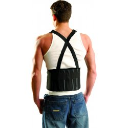 Occunomix - 611-064 - OccuNomix Large 8 1/4' Black Classic The Mustang Polypropylene Mesh Back Support With Front Double Hook And Loop Closure And Attached Suspenders