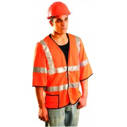 "Occunomix - LUX-HSCOOL3-YL - OccuNomix Large Hi-Viz Yellow OccuLux Premium Light Weight Cool Polyester Mesh Class 3 Dual Stripe Short Sleeve Vest With Front Hook And Loop Closure And 3M Scotchlite 2"" Reflective Tape And 1 Pocket"
