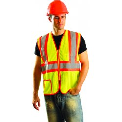 "Occunomix - LUX-SSCLC2Z-YL - OccuNomix Large Hi-Viz Yellow Classic Light Weight Polyester Mesh Class 2 Two-Tone Vest With Front Zipper Closure And 2"" Silver Reflective Tape Backed by Contrasting Trim And 2 Pockets"