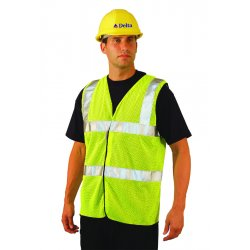 "Occunomix - LUX-SSCOOLG-YL - OccuNomix Large Hi-Viz Yellow OccuLux Premium Cool Polyester Mesh Class 2 Dual Stripe Traffic Vest With Hook And Loop Closure And 3M Scotchlite 2"" Reflective Material"