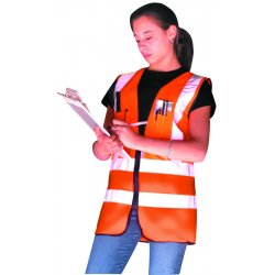"Occunomix - LUX-SSFS-OL - OccuNomix Large Hi-Viz Orange OccuLux Premium Light Weight Solid Polyester Tricot Class 2 Dual Stripe Surveyor's Vest With Zipper Closure And 3M Scotchlite 2"" Silver Reflective Tape And 12 Pockets"