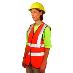 "Occunomix - LUX-SSFULLG-Y4X - OccuNomix 4X Hi-Viz Yellow OccuLux Premium Light Weight Solid Cool Polyester Tricot Class 2 Dual Stripe Full Sleeveless Traffic Vest With Front Hook And Loop Closure And 3M Scotchlite 2"" Silver Reflective Tape"