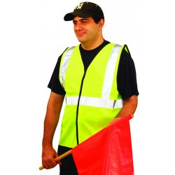 Occunomix - LUX-SSG-YM - OccuNomix Medium Hi-Viz Yellow OccuLux Classic Economy Light Weight Solid Polyester Tricot Class 2 Standard Traffic Vest With Front Hook And Loop Closure And 3M Scotchlite 2' Reflective Tape