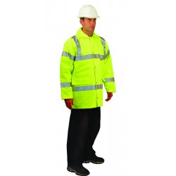 Occunomix - LUX-TJFS-YXL - OccuNomix X-Large Hi-Viz Yellow OccuLux Premium Polyurethane Coated Polyester Class 3 5-in-1 Weatherproof Coat With Front Zipper And Snap Storm Flap Closure And 3M Scotchlite 2' Reflective Tape And 7 Pockets, ( Each )