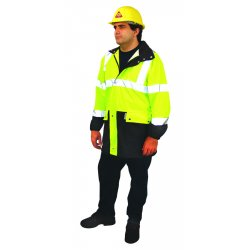 Occunomix - LUX-TJR-YL - OccuNomix Large Hi-Viz Yellow With Blue 31' 100% Polyester 150 Denier Oxford With PU Coating Breathable Rain Jacket With Zippered Roll-Away Hood And 2 Outer Pockets, ( Each )