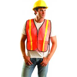 "Occunomix - LUX-XGTM-OR - OccuNomix Regular Hi-Viz Orange OccuLux Value Economy Light Weight Polyester Mesh Vest With Front Hook And Loop Closure, 1"" Gloss Reflective Tape, Elastic Side Straps And 1 Pocket"
