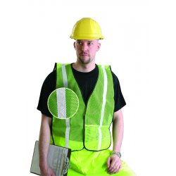 "Occunomix - LUX-XGTM-Y4X - OccuNomix 4X Hi-Viz Yellow OccuLux Value Economy Light Weight Polyester Mesh Vest With Front Hook And Loop Closure, 1"" Gloss Reflective Tape, Elastic Side Straps And 1 Pocket"