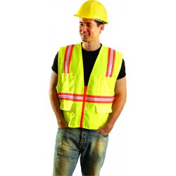 "Occunomix - LUX-XTRANS-OM - OccuNomix Medium Hi-Viz Orange OccuLux Classic Economy Woven Twill Solid Polyester Two-Tone Surveyor's Vest With Front Zipper Closure And 3/4"" White Gloss Tape Backed by Yellow Trim And 9 Pockets"