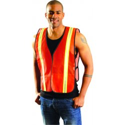 "Occunomix - LUX-XTTM-O4X - OccuNomix 4X Hi-Viz Orange OccuLux Value Economy Light Weight Polyester Mesh Two-Tone Vest With Front Hook And Loop Closure, 1 3/8"" Silver Gloss Tape On Orange Trim, Side Elastic Straps And 1 Pocket"
