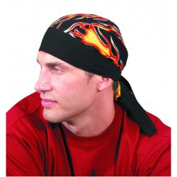 Occunomix - TN5-FLA - OccuNomix Big Flames Tuff Nougies 100% Cotton Doo Rag Tie Hat With Plastic Hook Closure And Holographic Hangtag