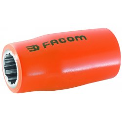 "Facom - FM-R.12AVSE - 12mm Alloy Steel Insulated Socket with 1/4"" Drive Size and Insulated Finish"
