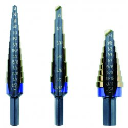 IRWIN Industrial Tool - 10502CB - Step Drill Bit Set, Cobalt, 1/8-3/4, 3 pc.