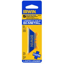 "IRWIN Industrial Tool - 2084100 - IRWIN Bi-Metal Utility Knife Blade - 2.50"" Length - Unbreakable - Metal, Steel - 5 / Pack - Blue"