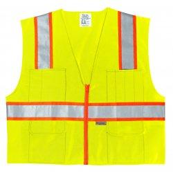 River City - SURVLL - Class 2 Poly Safety Vest3 Org/silv