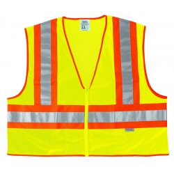 River City - WCCL2LM - Fluorescent Line Safetyvest W/ Orng/sil Stripes