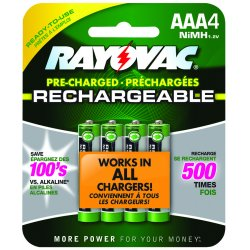 Rayovac - LD724-4OPB - RAYOVAC LD724-4OPB Ready-to-Use Rechargeable NiMH Batteries (AAA; 600mAh; 4 pk)