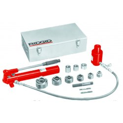 RIDGID - 23477 - Ridgid 1/2' - 2' Red/Silver HKO-186 Hydraulic Knockout Kit (Includes Hand Pump, (2) Draw Bolts, Draw Bar, Spacers, 3' Hose, Punch/Die Sets, 11 Ton Hydraulic Ram, Relief Valve, Drive Screws And H-D Ball Bearings), ( Kit )