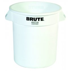 Rubbermaid - RCP 2610 WHI - Round Brute Container, Plastic, 10 gal, White