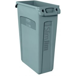 Rubbermaid - 3540-60-GRAY - 23 Gal Slim Jim With Venting Channels