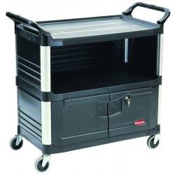 Rubbermaid - RCP 4095 BLA - Xtra Equipment Cart, 300-lb Cap, Three-Shelf, 20-3/4w x 40-5/8d x 37-4/5h, Black