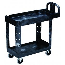 "Rubbermaid - 450088BLA - Rubbermaid 4500-88 Utility Cart - 2 Shelf - 500 lb Capacity - 4 Casters - 5"" Caster Size - Plastic - 39"" Length x 17.7"" Width x 33.3"" Height - Black"