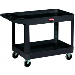 Rubbermaid - FG452010BLA - Heavy-Duty Utility Cart, Two-Shelf, 25-7/8w x 45-1/4d x 37-1/8h, Black