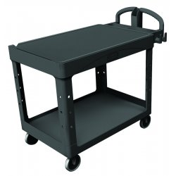 Rubbermaid - FG454500BLA - Heavy-Duty Utility Cart, Two-Shelf, 25-1/4w x 54d x 36h, Black