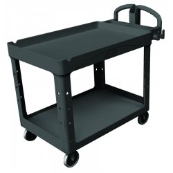 "Rubbermaid - 454600BK - Rubbermaid Large Utility Cart with Lipped Shelf - 2 Shelf - 750 lb Capacity - 4 Casters - 5"" Caster Size - Resin - 55"" Length x 26"" Width x 33.3"" Height - Black"