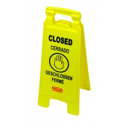 Rubbermaid - 6112-78-YEL - 2-sided Floor Sign W/multi-lingual Closed Impr, Ea