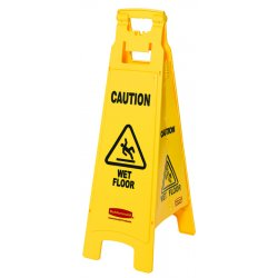 Rubbermaid - 6114-77-YEL - Floor Sign W/caution Wetfloor Imprint4-si
