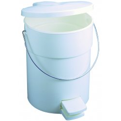 Rubbermaid - RCP 6142 WHI - Indoor Utility Step-On Waste Container, Round, Plastic, 4.5gal, White
