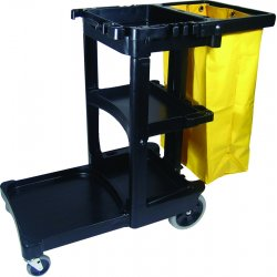 "Rubbermaid - 617388BLA - Rubbermaid Cleaning Cart with Zippered Yellow Vinyl Bag - 3 Shelf - 8"", 4"" Caster Size - 46"" Length x 21.8"" Width x 38.4"" Height - Black"