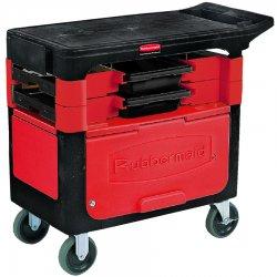 Rubbermaid - RCP 6180-88 BLA - Locking Trades Cart, 330-lb Cap, Two-Shelf, 19-1/4w x 38d x 33-3/8h, Black