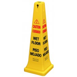 Rubbermaid - FG627677YEL - Four-Sided Caution, Wet Floor Yellow Safety Cone, 12 1/4 x 12 1/4 x 36h
