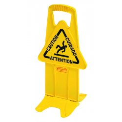 Rubbermaid - 9S0900 YEL - Stable Multi-Lingual Safety Sign, 13w x 13 1/4d x 26h, Yellow