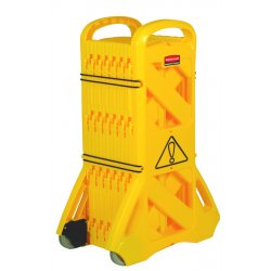 "Rubbermaid - FG9S1100YEL - Portable Mobile Safety Barrier, Plastic, 13ft x 40"", Yellow"